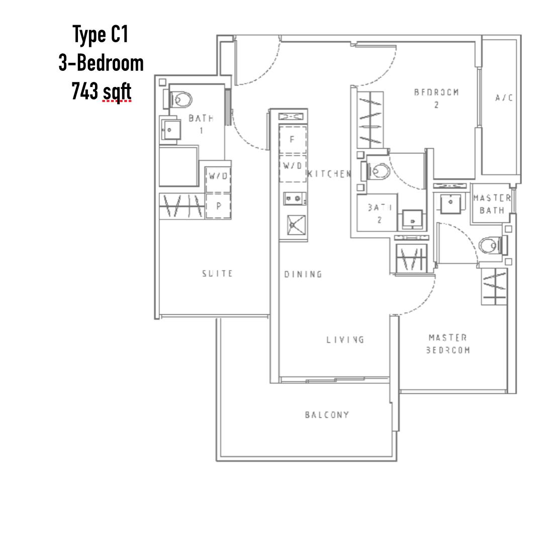 New Condo Launch - Liv On WIlkie - Floor Plan Type C1 3-Bedroom