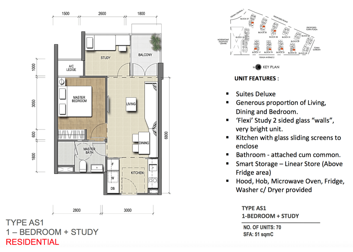 New Condo Launch - North Park Residences - Floor Plan Type AS1 1+Study
