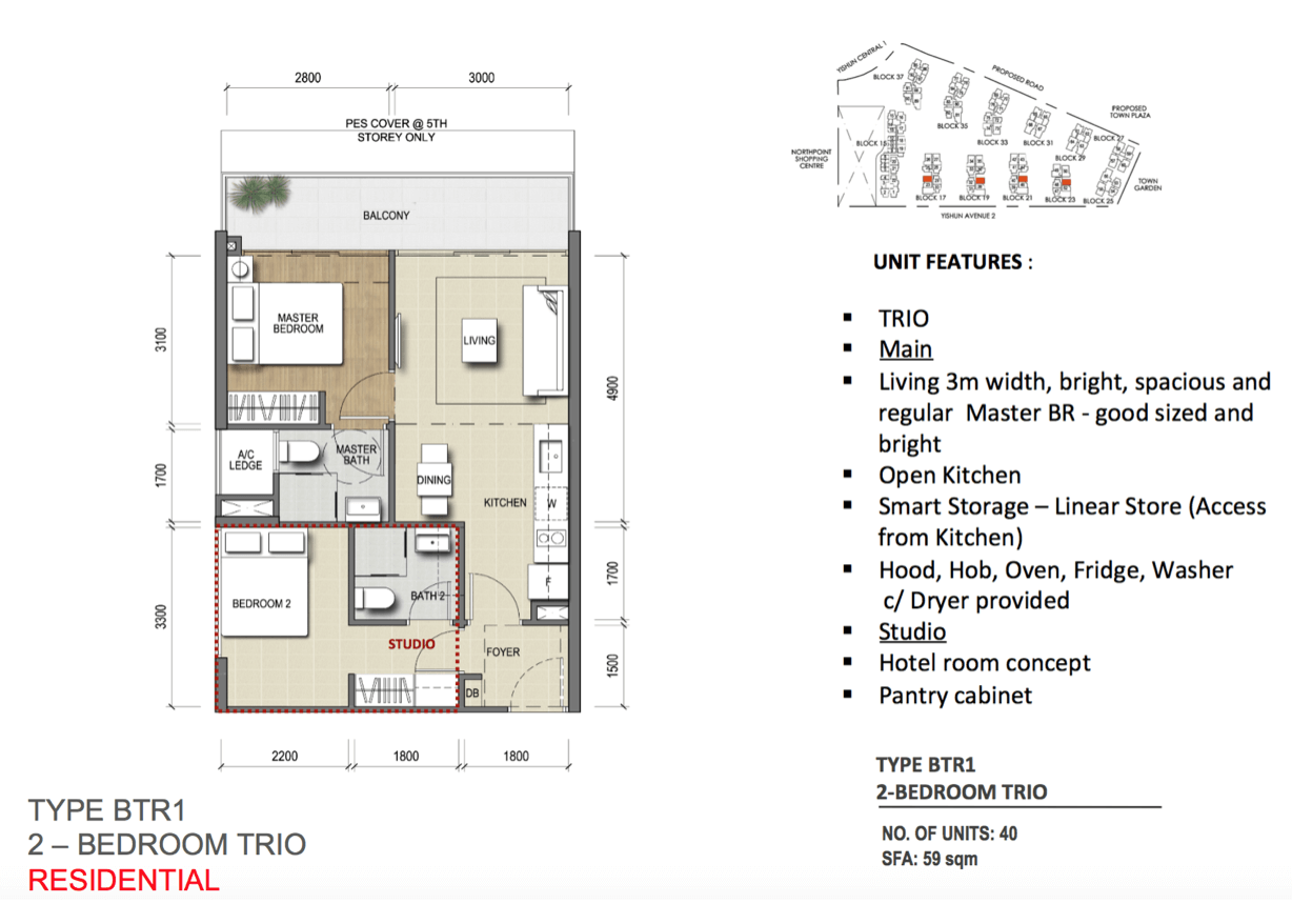 New Condo Launch - North Park Residences - Floor Plan Type BTR1 2-Bedroom Trio