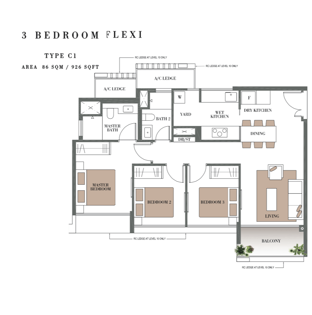 Singapore Condo - Botanique @ Bartley - Floor Plan Type C1 3-Bedroom Flexi