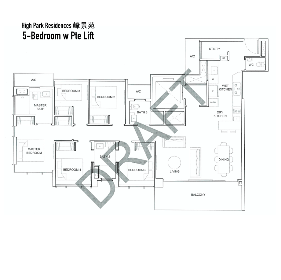 High Park Residences - Floor Plan 5-Bedroom (With Private Lift)