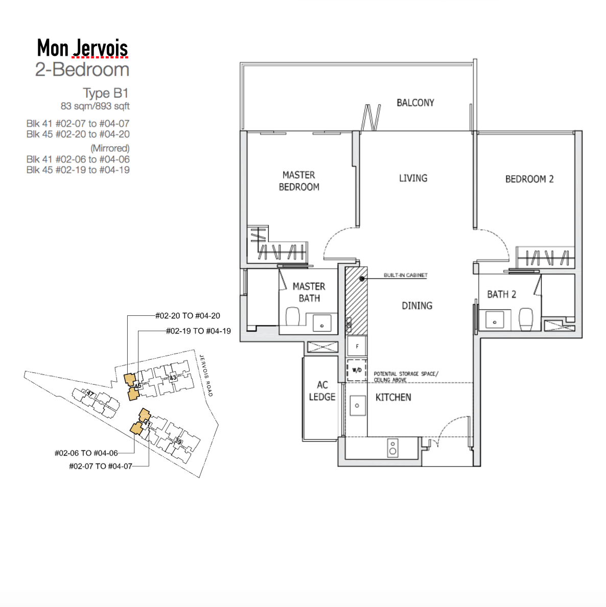 Mon Jervois - Floor Plan Type B1 893sqft 2-Bedroom