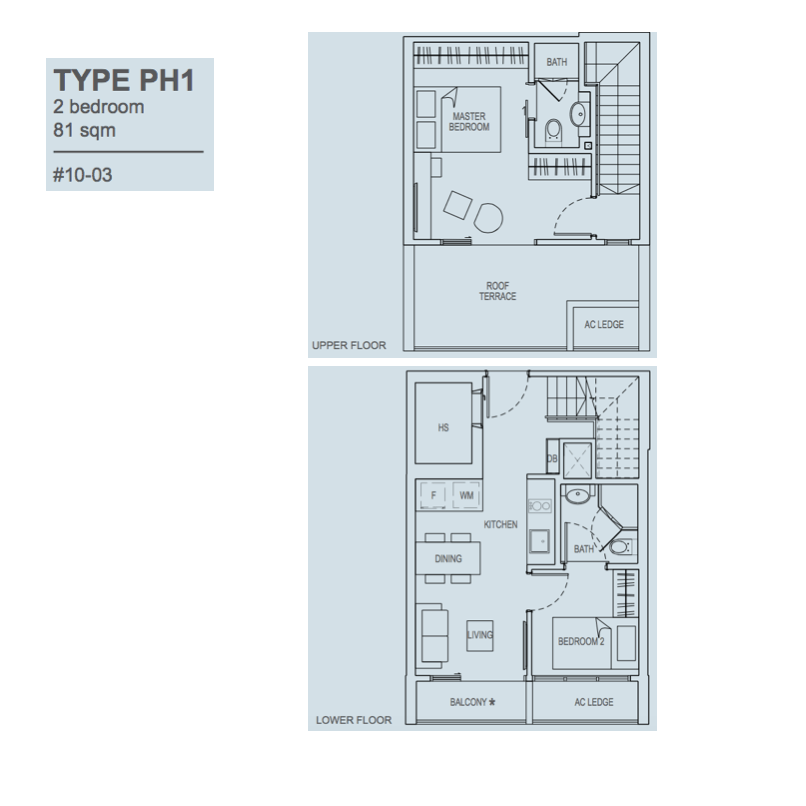 The Rise @ Oxley Residences - Floor Plan Type PH1 81sqm Penthouse 2-Bedroom
