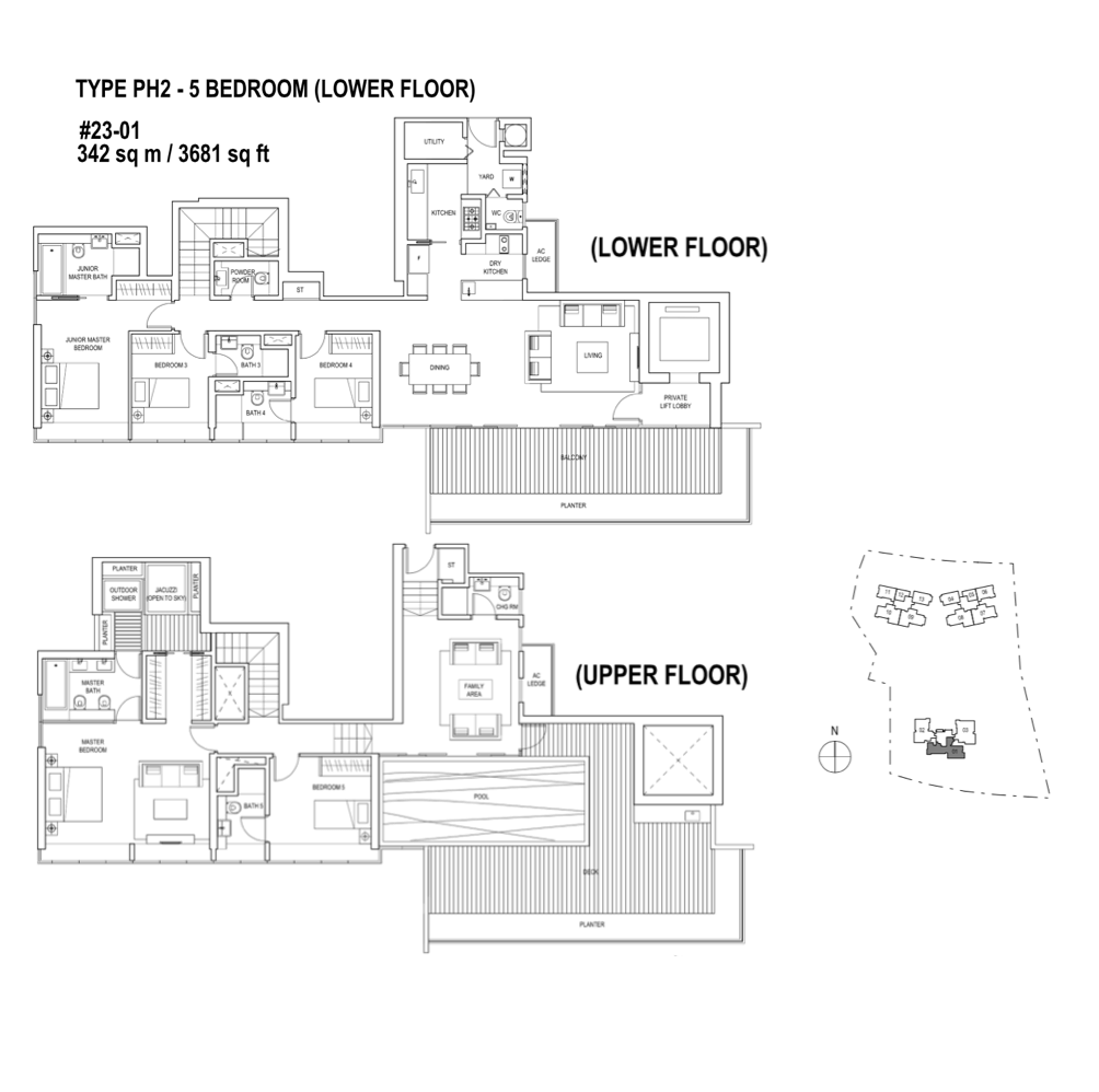 Skyline-Residences - Floor Plan Type PH2 3681sqft Penthouse 5-Bedroom