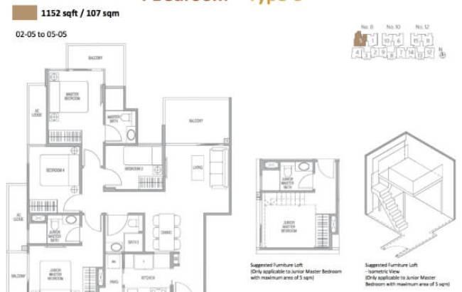 Adana - Floor Plan 4-Bedroom Type C 1152sqft