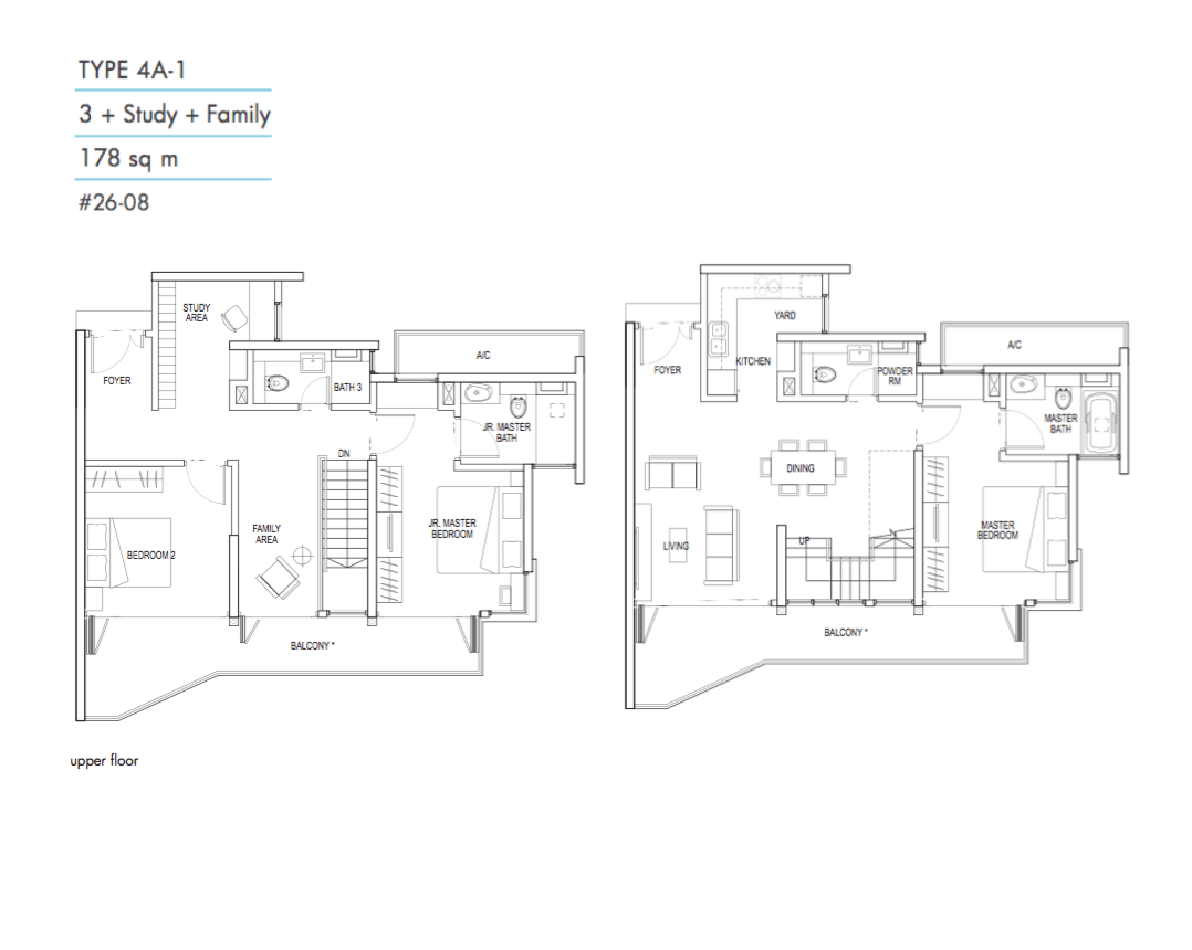 Kallang Riverside - Floor Plan 3+Study+Family Type 4A1 1916sqft