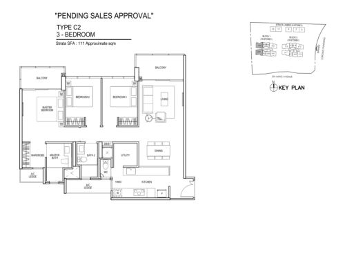 Thomson Impressions - Floor Plan C2 3-Bedroom 1195sqft