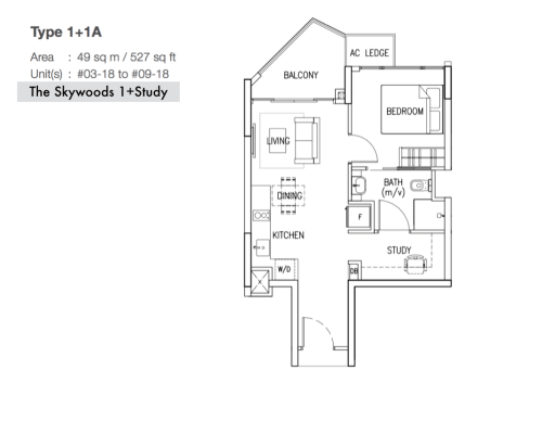The Skywoods Floor Plan - Type A+1A 527sqft 1+Study