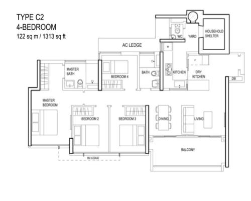 The Terrace - Floor Plan - Type C2 4-Bedroom 1313sqft