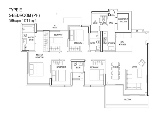 The Terrace - Floor Plan - Type E 5-Bedroom Penthouse 1711sqft