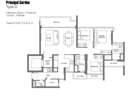 Principal Garden Floor Plan - Type D 1238sqft 3-Bedroom Deluxe + Pte Lift