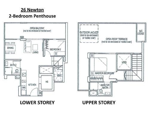 26 Newton - Floor Plan Penthouse 2-Bedroom