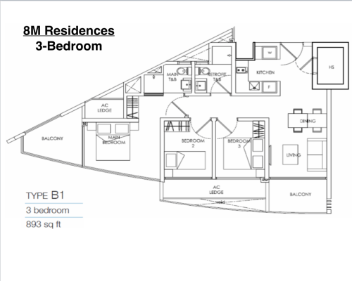 8M Residences - Floor Plan Type B1 3-Bedroom