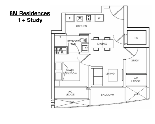 8M Residences - Floor Plan Type C1 1+Study