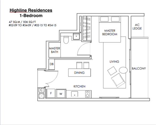 Highline Residences - Floor Plan 1-Bedroom 506sqft