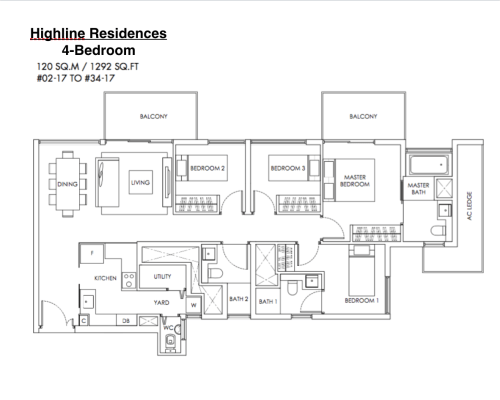 Highline Residences - Floor Plan 4-Bedroom 1292sqft