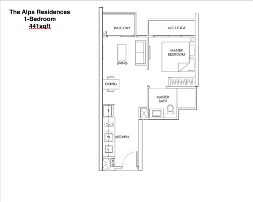 The Alps Residences 1-Bedroom