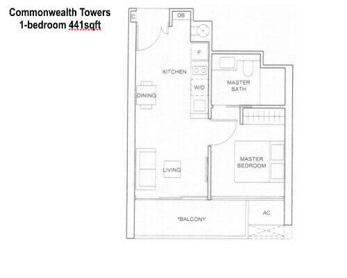 Commonwealth Towers 1br 441sf