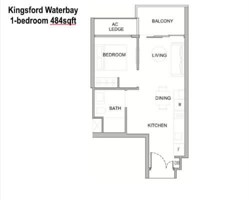 Kingsford Water - Floor Plan 1br 484sf