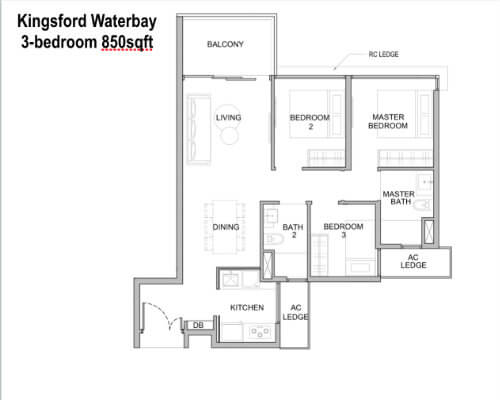 Kingsford Water - Floor Plan 3br 850sf