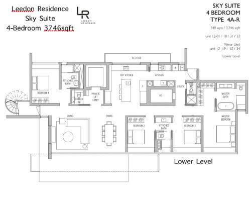 Leedon Residence Floor Plan 4br 3746sqft Lower Level