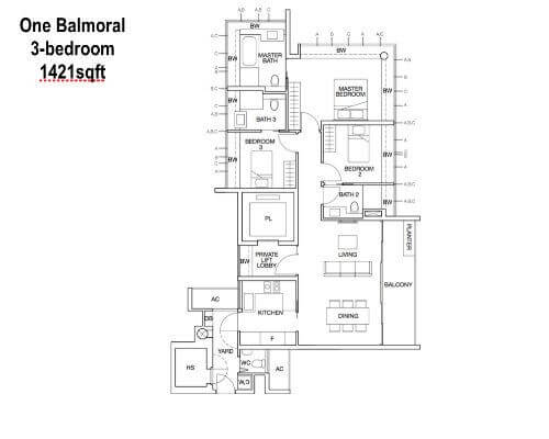 One Balmoral Floor Plan 3-Bedroom 1421sqft