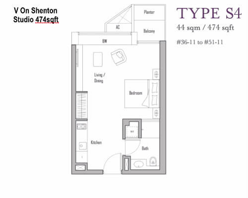 V On Shenton Floor Plan Studio 474sqft