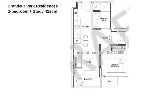 Grandeur Park Residences 1+Study 42sqm