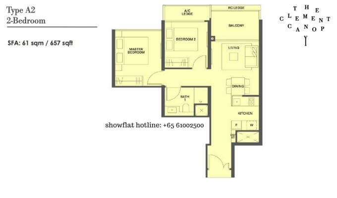 The Clement Canopy 2 bedroom 657sqft