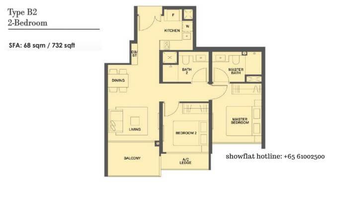 The Clement Canopy 2 bedroom 732sqft