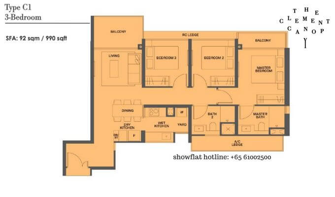 The Clement Canopy 3 bedroom 990sqft
