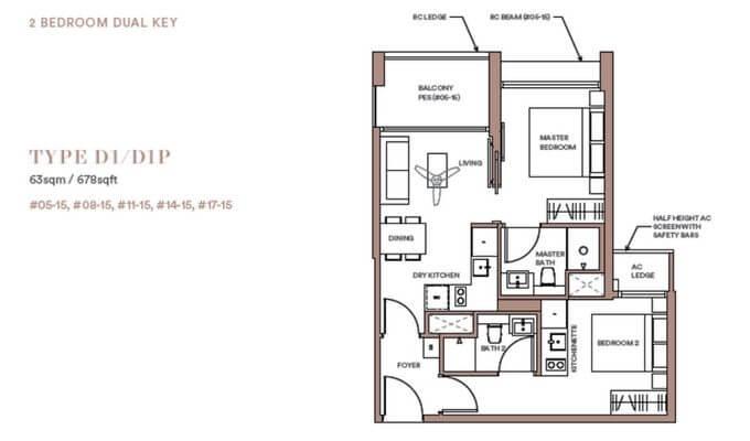 Park Place Residences 2br Dual Key