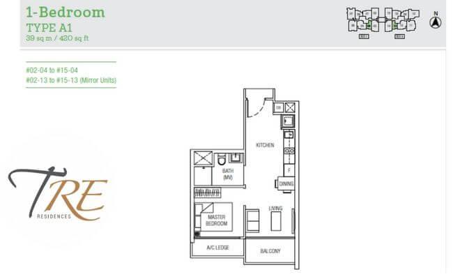 Tre Residences 1br 420sqft