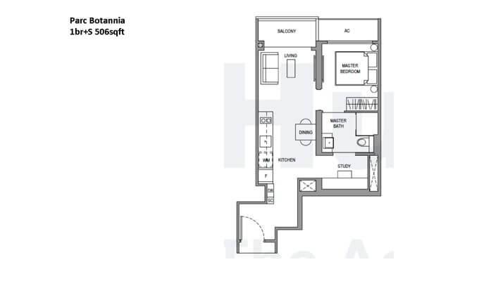 Parc Botannia 1br + Study 506sqft