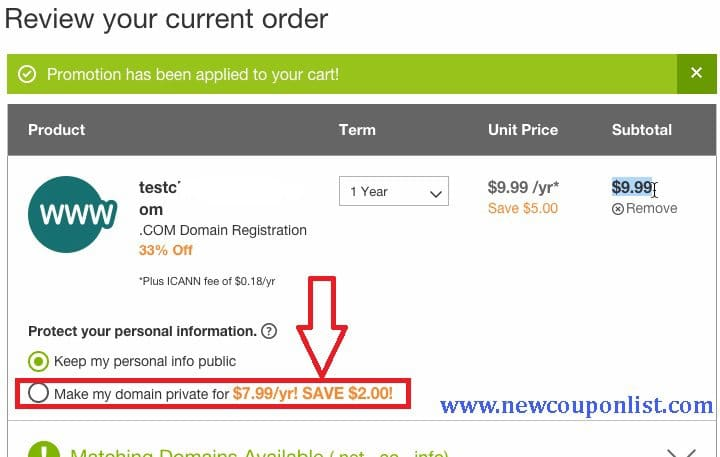 On/Off Private Registration to get the original price of the package