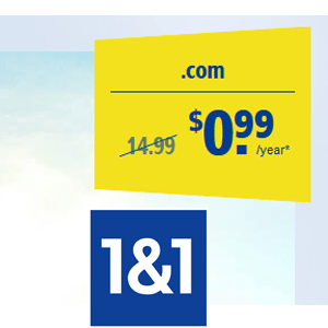 .COM domain name just 99 cent at 1&1 IONOS