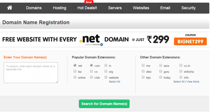 Bulk domain registration and discounts