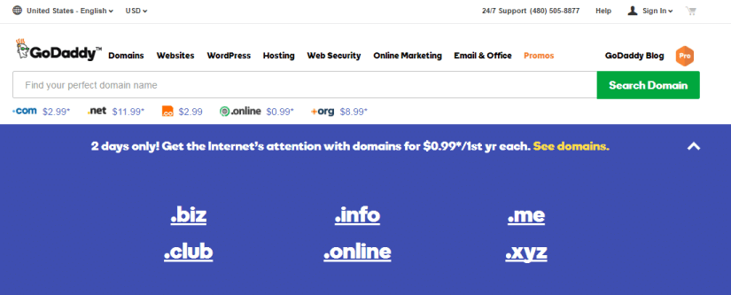 GoDaddy Domain Names Just 99 cents per year