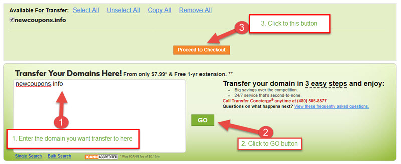 GoDaddy Domain Transfer Coupon in April 2019