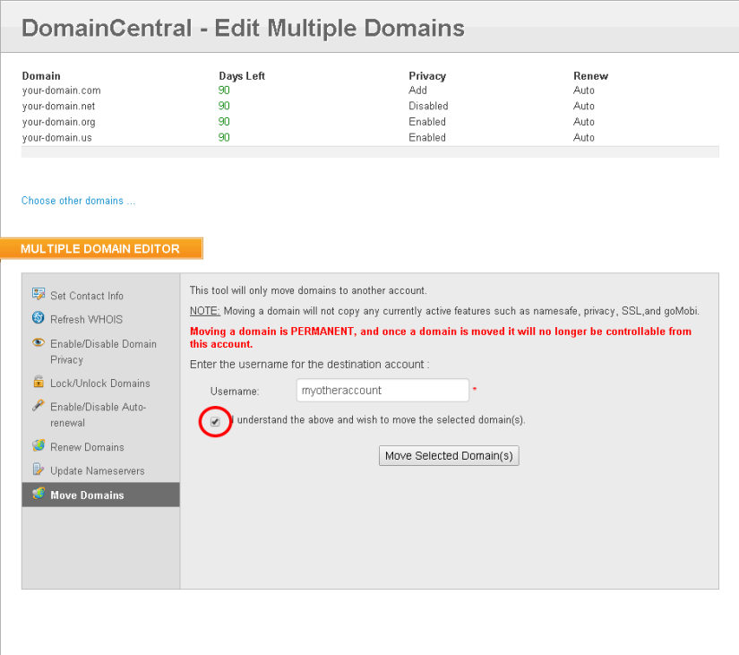 How To Move Domains Between Domain.com Accounts?