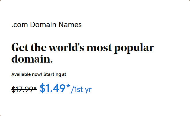 $1.49 .COM Domain Promo Codes at GoDaddy