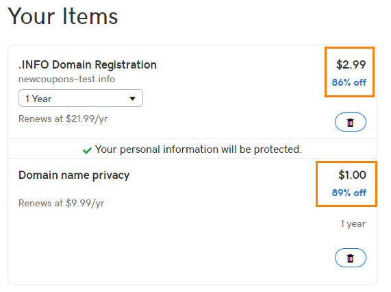 GoDaddy .INFO Domain Coupon For Only $2.99 - 86% Off