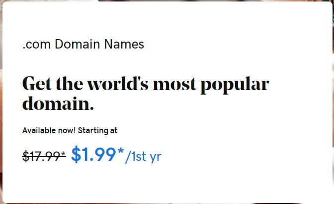 $1.99 .COM Domain GoDaddy Coupon Codes September 2020
