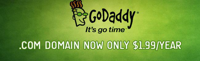 $1.99 .COM Domain GoDaddy Coupon Codes June 2019