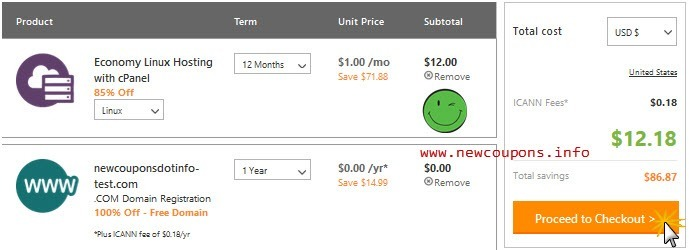 How to get free domain at GoDaddy with Hosting for only $12/y.