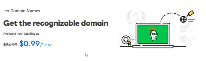 GoDaddy .CO Domain Coupon for November 2018 - $0.99/Year