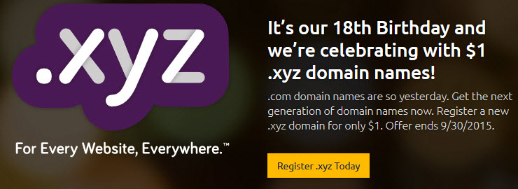 .XYZ domain at Dreamhost now just $1.00/y