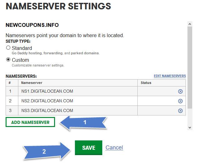 Setup GoDaddy's domain to DigitalOcean VPS