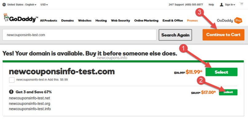 How to buy 4 domains just $18.53 at GoDaddy