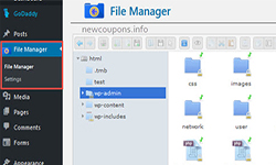 install filemanager godaddy wordpress hosting